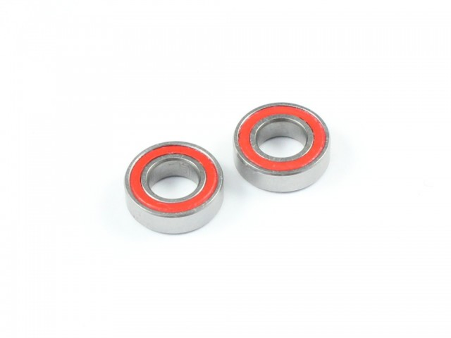 Radtec - 5x10x3mm High Grade Ball Bearings, 2 pcs, Red Rubber Seal (BB-10001)