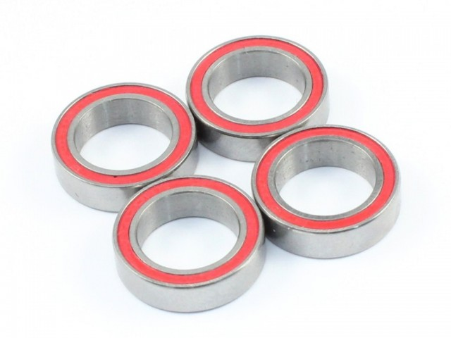 Radtec - 10x15x4mm Ceramic Ball Bearings, 4 pcs, Red Rubber Seal (BB-20001)
