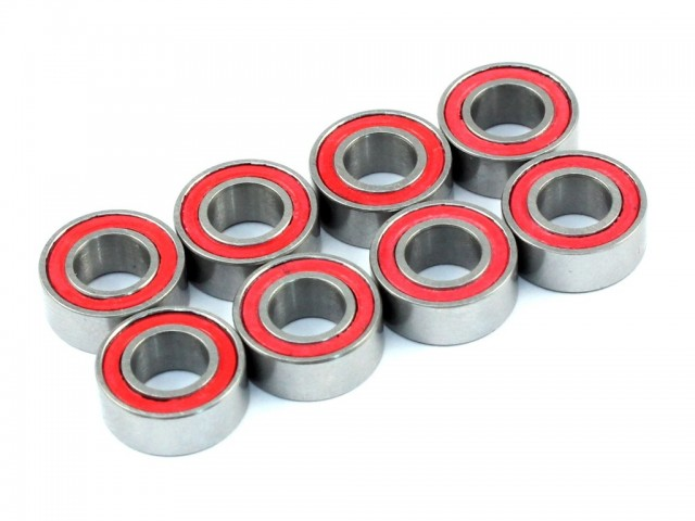 Radtec - 5x10x4mm Ceramic Ball Bearings, 8 pcs, Red Rubber Seal (BB-20002)