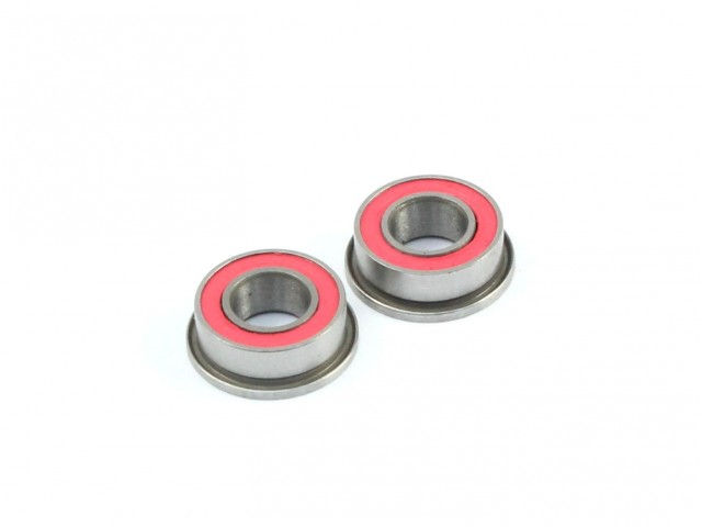 Radtec - 4x8x3mm Ceramic Ball Bearings, Flanged, 2 pcs, Red Rubber Seal (BB-20004)