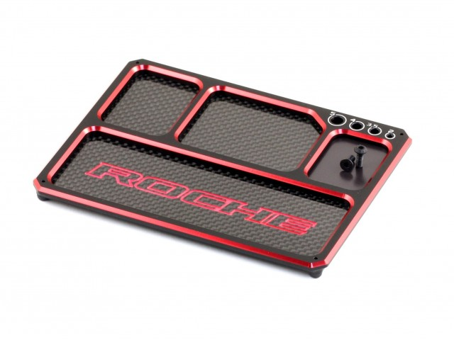 Roche - Aluminum/Graphite Lightweight Parts Tray with magnet, Black/Red (930005)