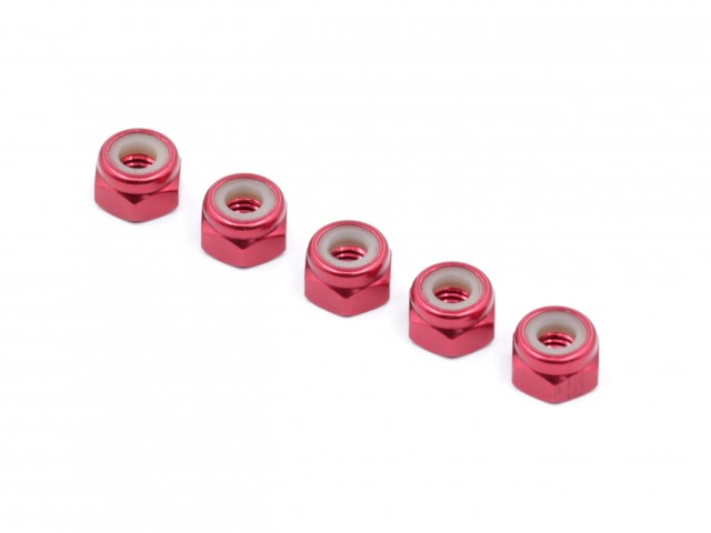 Roche - M4 Aluminum Locknut (Red), Thin, 5 pcs (510023)