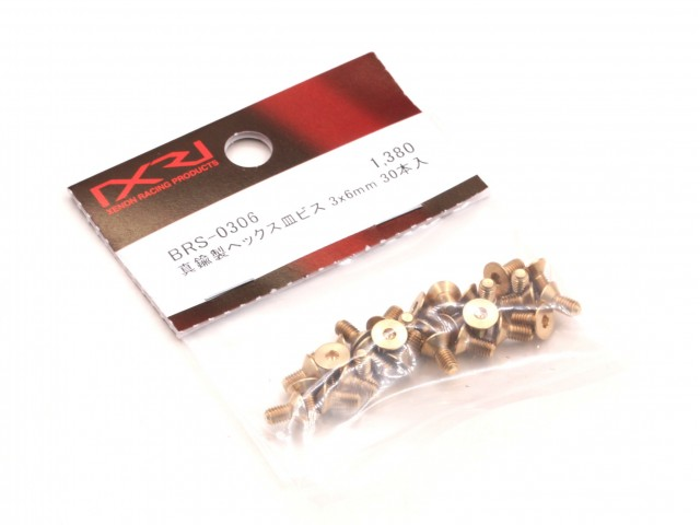 Xenon - Brass Hex Flathead Screw M3x6mm, 30pcs (BRS-0306)
